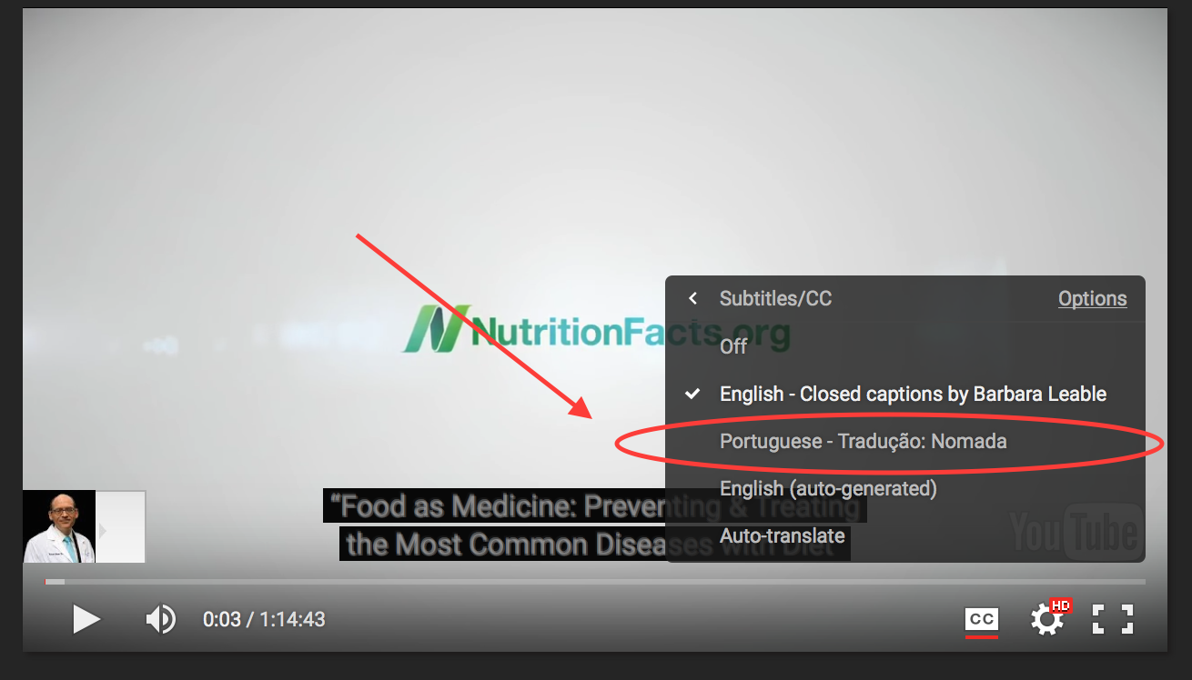Viewing video translations on your computer – NutritionFacts